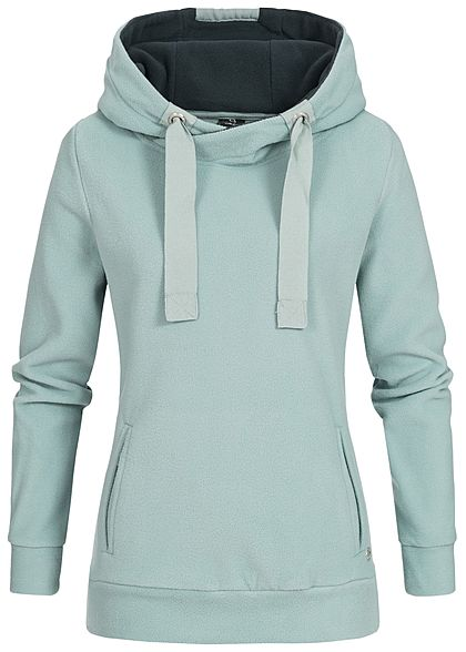 Eight2Nine Damen Fleece Hoodie Kapuze Kängurutasche by Sublevel hell blau türkis