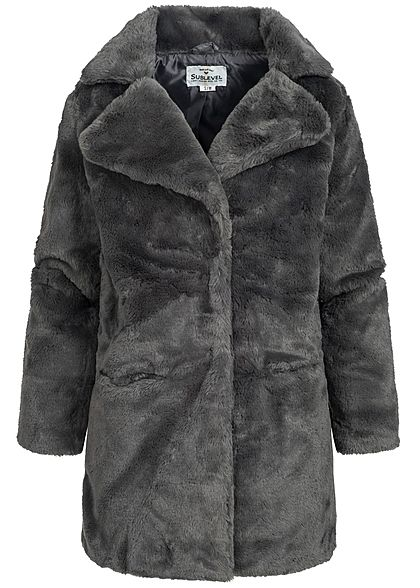 Eight2Nine Damen Coatigan Jacke Teddyfell 2 Taschen by Sublevel dunkel grau