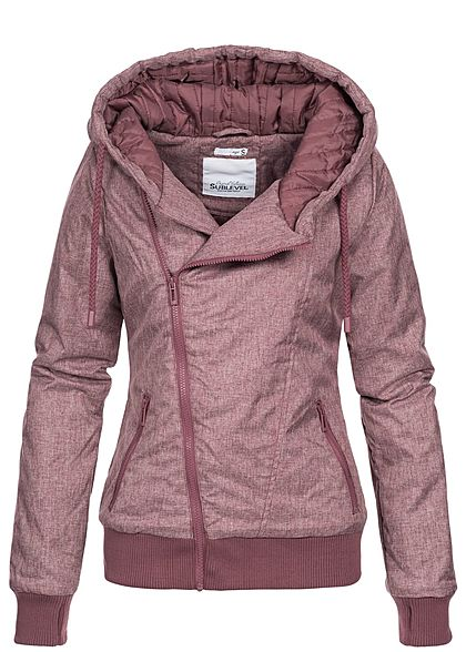Eight2Nine Damen Herbstjacke Kapuze asymmetrischer Zipper by Sublevel berry rot melange