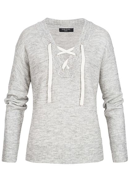 Eight2Nine Damen Sweater Pullover Schnürausschnitt by Sublevel hell grau