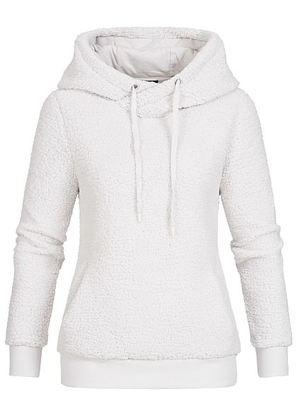 Eight2Nine Damen Fleece Hoodie Kapuze 2 Taschen by Sublevel fog off weiss