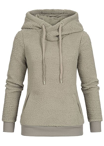 Eight2Nine Damen Fleece Hoodie Kapuze 2 Taschen by Sublevel olive grün