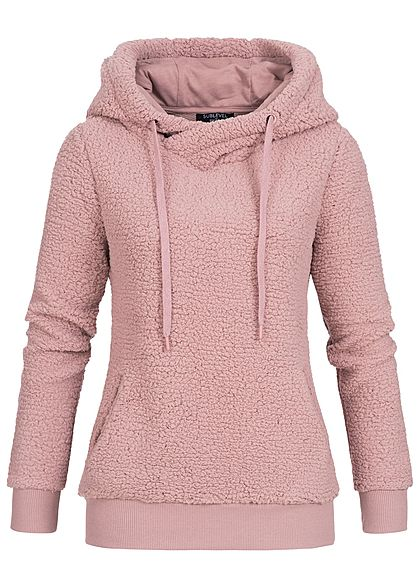 Eight2Nine Damen Fleece Hoodie Kapuze 2 Taschen by Sublevel vintage rosa