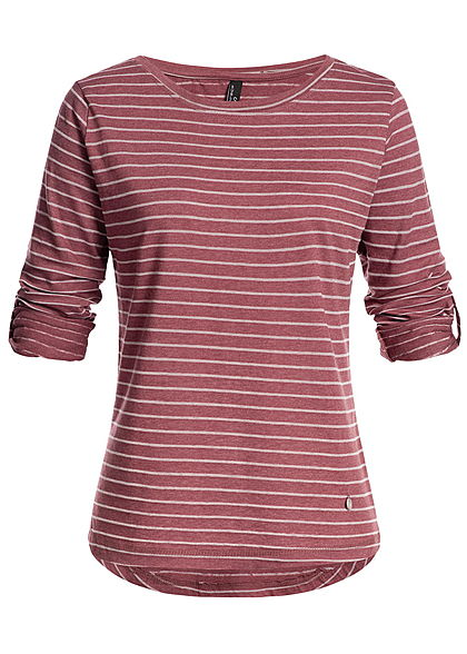 Eight2Nine Damen Turn-Up Longsleeve Streifen Muster by Sublevel wine bordeaux rot