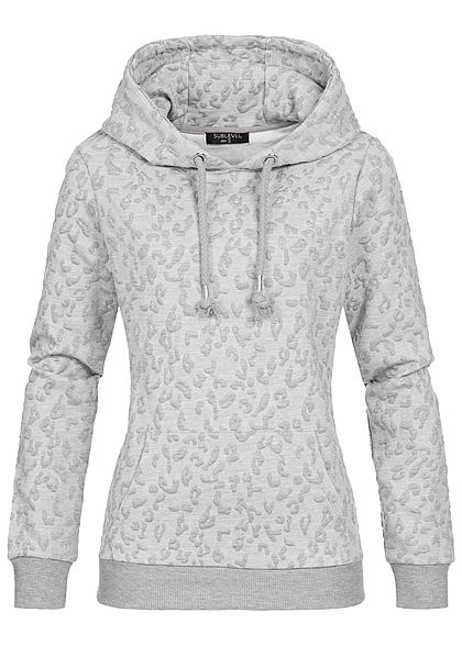 Eight2Nine Damen Hoodie Kapuze Struktur-Muster Kängurutasche by Sublevel hell grau melange