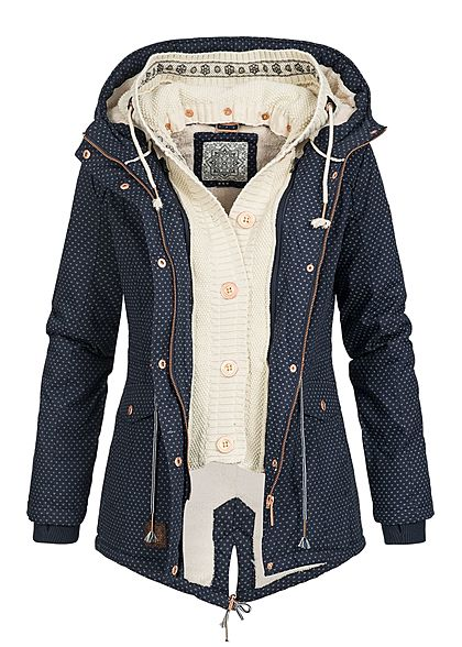 Aiki Damen Winter Jacke 2in1 Optik Kapuze Herz Muster Kunstfellfutter navy blau