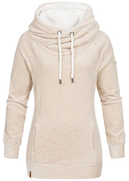 populärer Stil Entdecken Sie die neuesten Trends am modischsten ONLY Damen Hoodie Kapuze Kängurutasche Struktur-Muster oatmeal beige