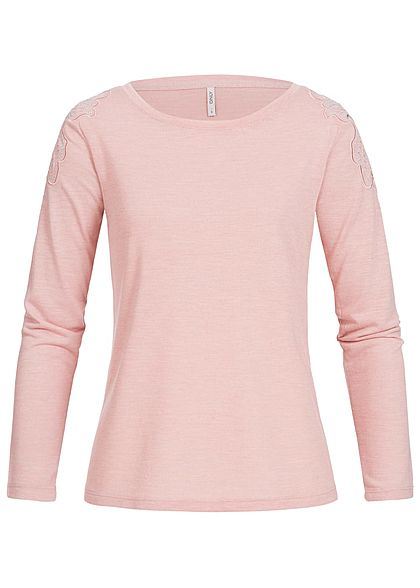 ONLY Damen Longsleeve Pailletten misty rosa