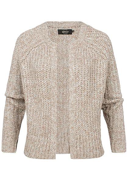 Online-Shop 53a0d 02e9e ONLY Damen Grobstrick Cardigan taupe grau melange