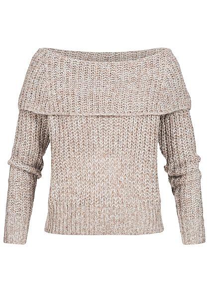 online store 6a913 9ad63 ONLY Damen Grobstrick Pullover Off Shoulder weiter Kragen taupe grau melange