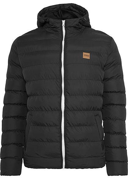 Urban Classics Herren Basic Winter Steppjacke Kapuze 2 Taschen schwarz weiss