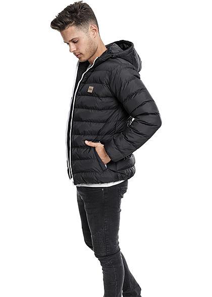 Seventyseven Lifestyle Men TB Basic Winter Steppjacke Kapuze 2 Taschen schwarz weiss