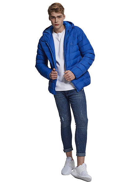 Seventyseven Lifestyle Men TB Basic Winter Steppjacke Kapuze 2 Taschen royal blau