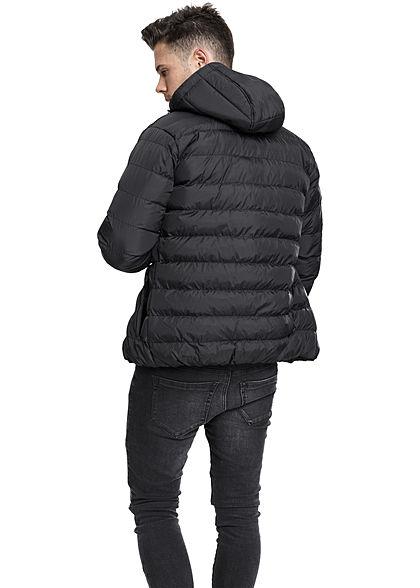 Seventyseven Lifestyle Men TB Basic Winter Steppjacke Kapuze 2 Taschen schwarz