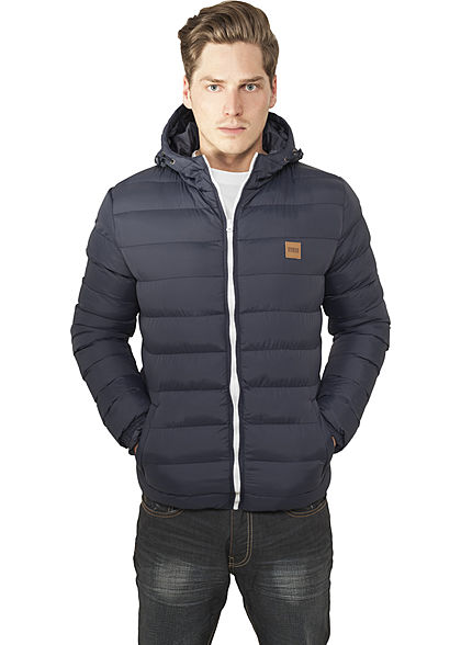 Seventyseven Lifestyle Men TB Basic Winter Steppjacke Kapuze 2 Taschen navy blau weiss