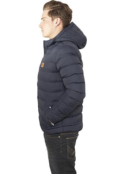 Urban Classics Herren Basic Winter Steppjacke Kapuze 2 Taschen navy blau weiss