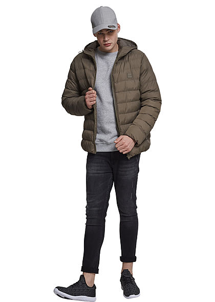 Seventyseven Lifestyle Men TB Basic Winter Steppjacke Kapuze 2 Taschen army grün khaki