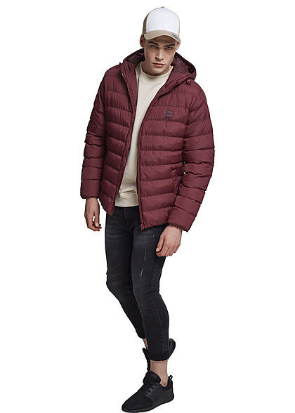 Seventyseven Lifestyle Men TB Basic Winter Steppjacke Kapuze 2 Taschen cherry bordeaux rot