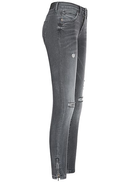 ONLY Damen Ankle Skinny Jeans 5-Pockets Destroy Look NOOS dunkel grau denim