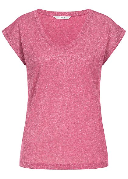 ONLY Damen T-Shirt Lurex Glitzer Allover NOOS baroque rose pink