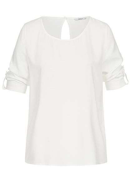ONLY Damen 3/4 Arm Turn-Up Shirt NOOS cloud dancer weiss