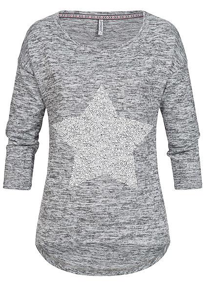 02a44ad2b12e21 Seventyseven Lifestyle Damen 3 4 Arm Shirt Strasssteine als Stern hell grau  melange - 77onlineshop
