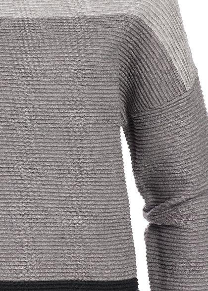 Seventyseven Lifestyle Damen High-Neck Sweater Colorblock hell grau schwarz
