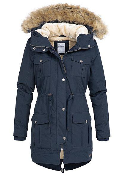 884c5e1d62b65b Seventyseven Damen Winter Jacke Kapuze Kunstfell abnehmbar navy blau