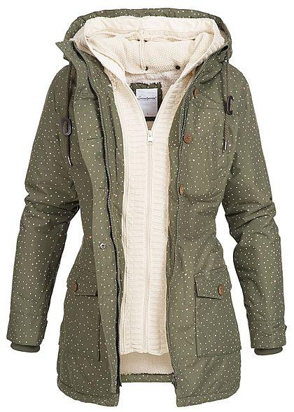 7f1a7c8c1851bd Seventyseven Damen Winter Jacke Kapuze 2in1 Optik Punkte Muster olive grün  - 77onlineshop