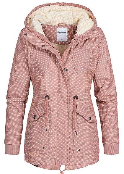 Seventyseven Damen Winter Jacke Kapuze Punkte Muster Teddyfell innen rosa
