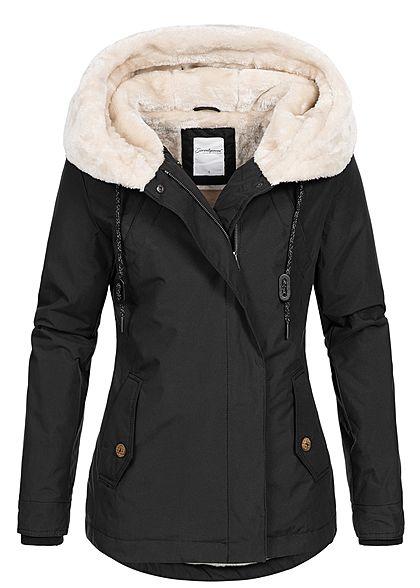 online retailer 2c888 9e9f1 Seventyseven Damen Winter Jacke Kapuze 3 Taschen Teddyfell schwarz