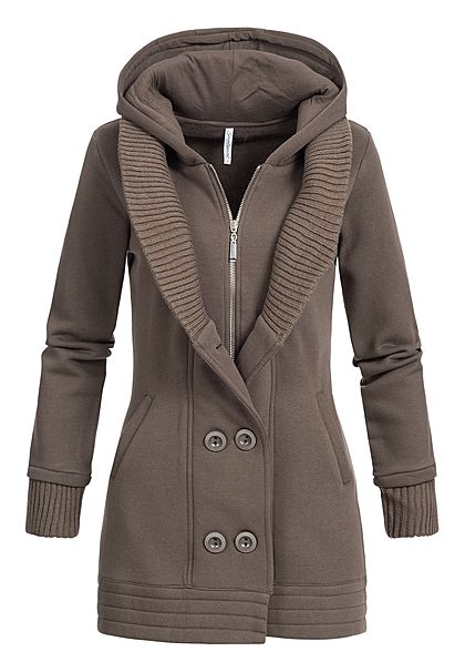 factory price 153db 4417f Seventyseven Lifestyle Damen Sweatjacke Doppelknopfleiste 2 Taschen braun