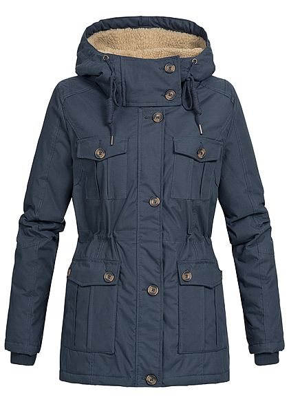 Seventyseven Damen Winter Jacke Kapuze Teddyfell 6 Taschen navy blau