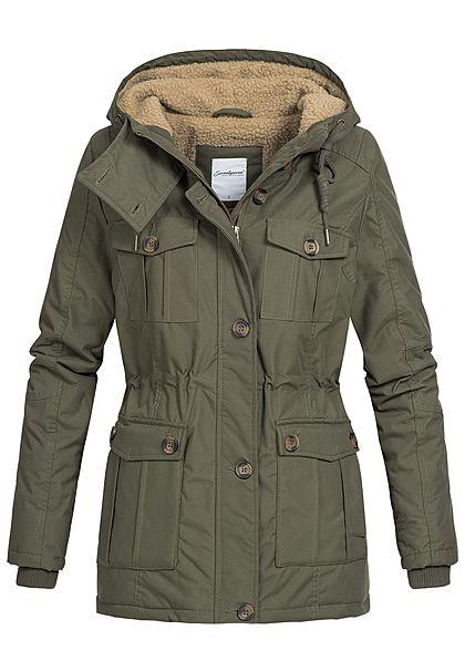 Seventyseven Damen Winter Jacke Kapuze Teddyfell 6 Taschen olive grün