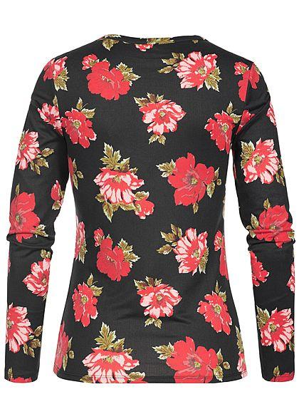 Seventyseven Lifestyle Damen Longsleeve Blumen Muster schwarz rot beige