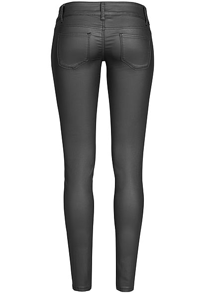 Seventyseven Lifestyle Damen Skinny Jeans 5-Pockets Kunstleder schwarz