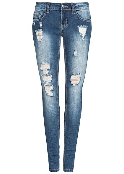 Seventyseven Lifestyle Damen Skinny Jeans Hose 5-Pockets Destroy Look medium blau denim