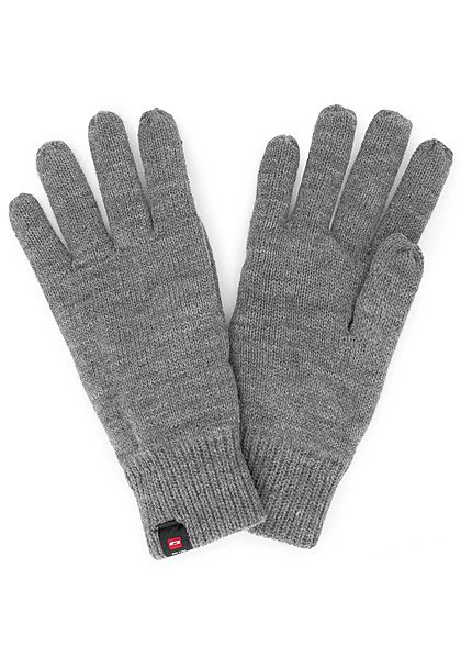 Jack and Jones Herren Strick Handschuhe mit Fleece dunkel grau melange