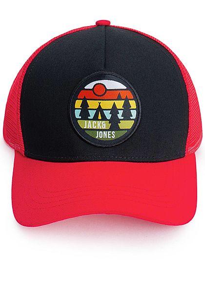 Jack and Jones Herren Cap Frontpatch fire rot schwarz