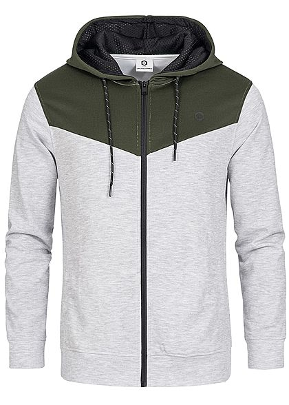 Jack and Jones Herren 2-Tone Zip Hoodie Kapuze 2 Taschen rosin olive grau