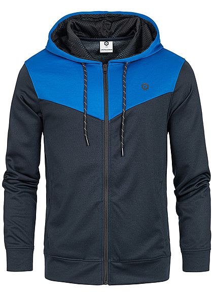 Jack and Jones Herren 2-Tone Zip Hoodie Kapuze 2 Taschen classic blau navy