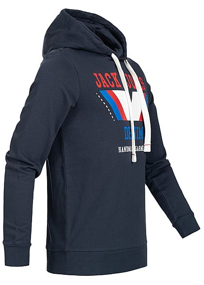 Jack and Jones Herren Hoodie Kapuze Frontdruck total eclips navy blau rot