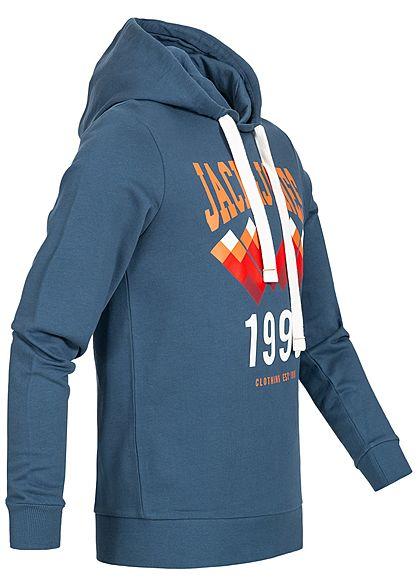 Jack and Jones Herren Hoodie Kapuze Frontdruck ensign blau orange