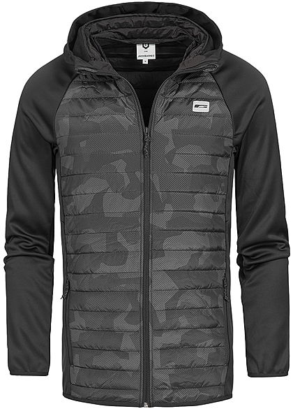 Jack and Jones Herren NOOS Multifunktions-Jacke Kapuze asphalt schwarz camouflage