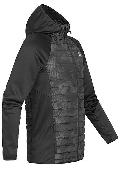 Jack and Jones Herren NOOS Multifunktions-Jacke Kapuze asphalt schwarz camouflage