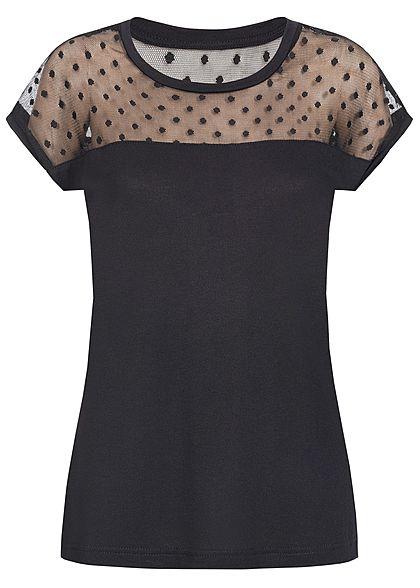2c5994ec3707 ONLY Damen T-Shirt Netz- Einsatz oben Punkte Muster schwarz - 77onlineshop