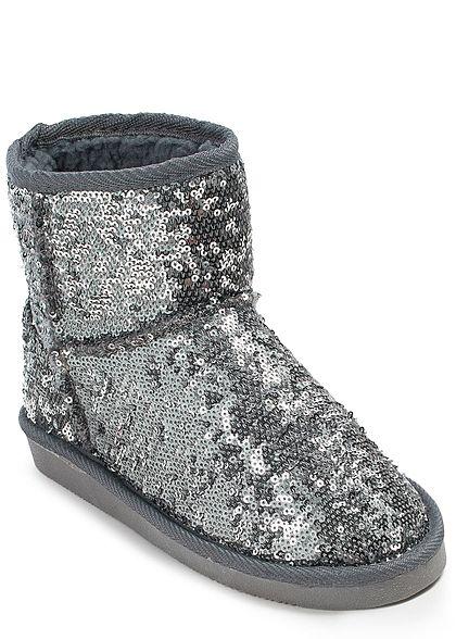 7c323053ce4aa7 Hailys Damen Schuh Winter Boot Pailletten silber - 77onlineshop