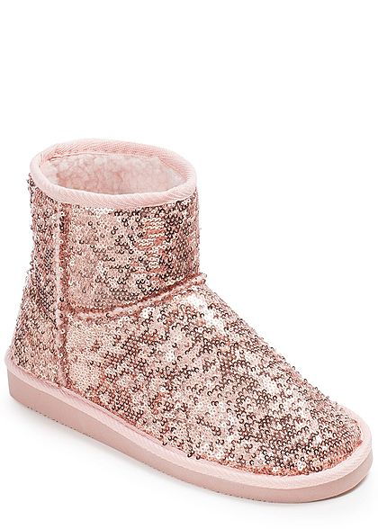 Hailys Damen Schuh Winter Boot Pailletten rosa gold