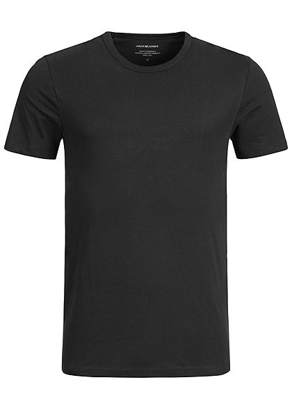 Jack and Jones Herren 2er-Pack Basic T-Shirt Rundhals NOOS schwarz