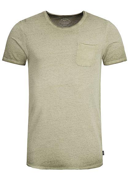 best service e0e36 a00a1 Jack and Jones Herren T-Shirt Brusttasche Rollkante olive